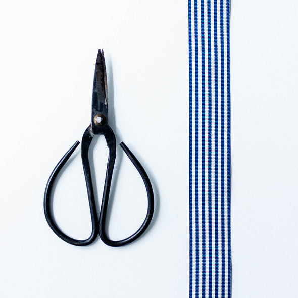 Navy blue striped grosgrain ribbon