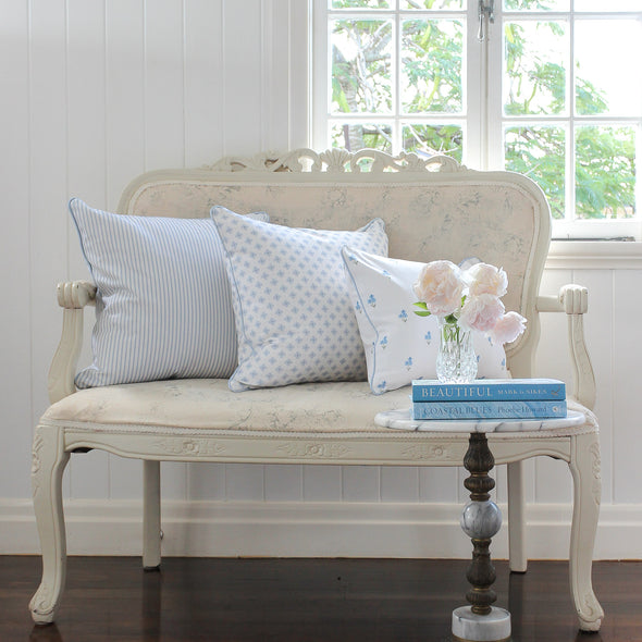 Petite Stripe Cushion blue