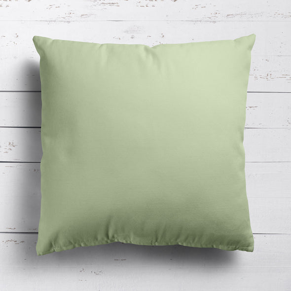 Elderflower green perfectly plain cotton linen fabric cushion