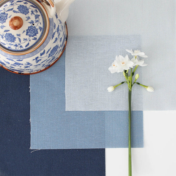 Perfectly Plain blue mix cotton linen fabric