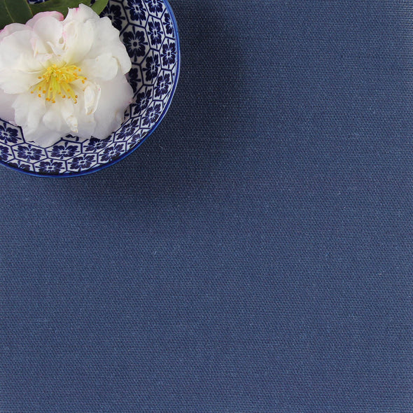 Navy blue perfectly plain cotton linen fabric