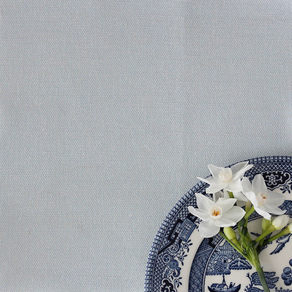 Serenity blue perfectly plain cotton linen fabric