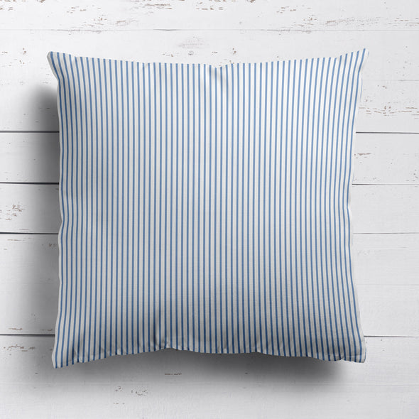 Petite Stripe cotton linen cushion in Breeze blue