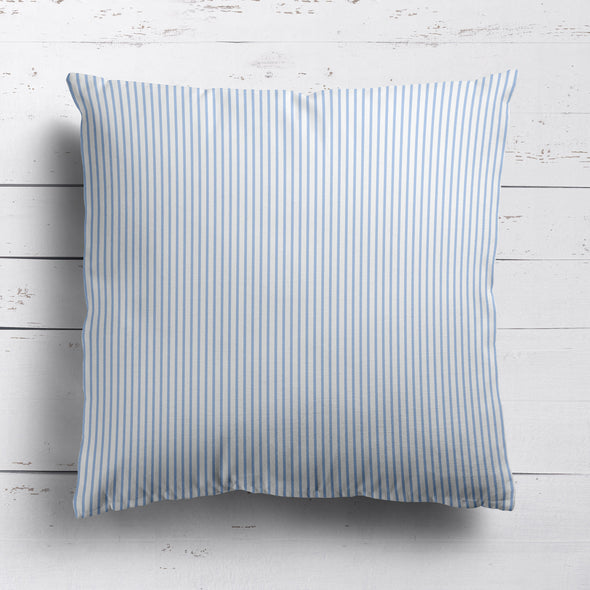 Petite Stripe cotton linen cushion in Cornflower blue