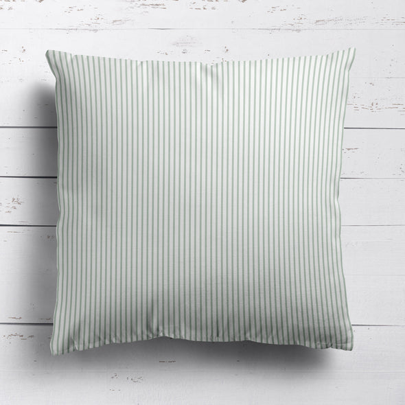 Petite Stripe cotton linen cushion in Eau de Nil green