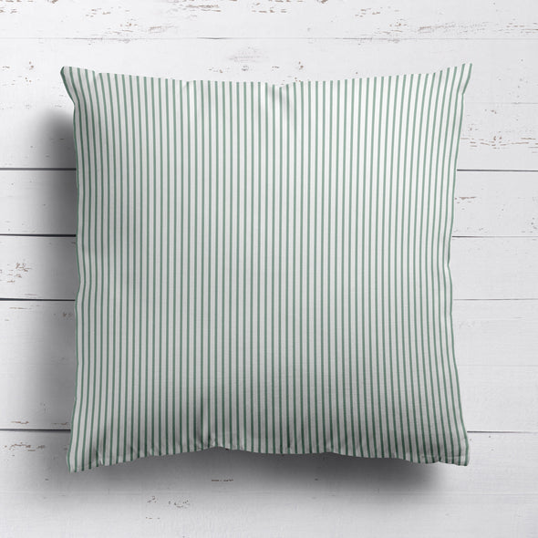 Petite Stripe cotton linen cushion in Eucalyptus green