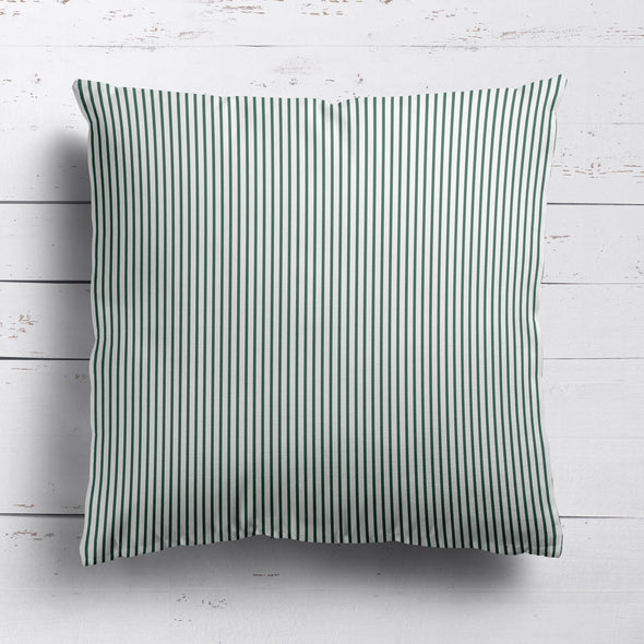 Petite Stripe cotton linen cushion in Leaf green