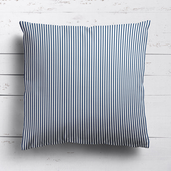 Petite Stripe cotton linen cushion in Navy blue