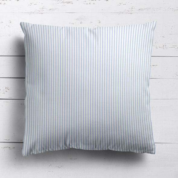 Petite Stripe cotton linen cushion in Serenity blue