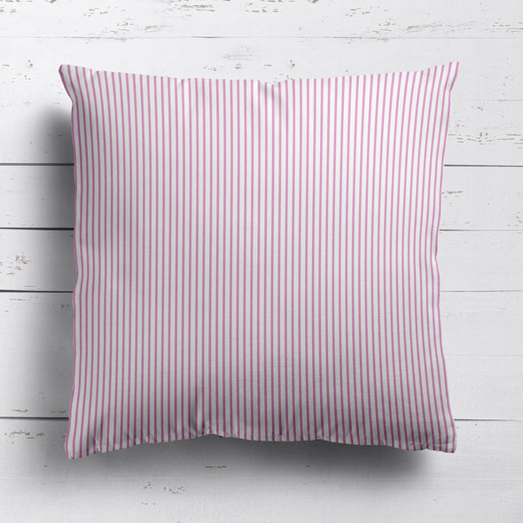 Petite Stripe cotton linen cushion in Tickled pink