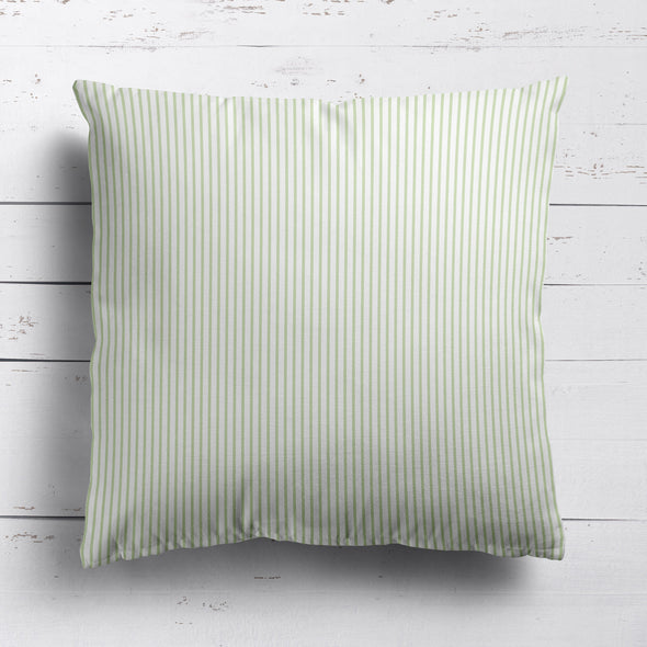 Petite Stripe cotton linen cushion in Elderflower green