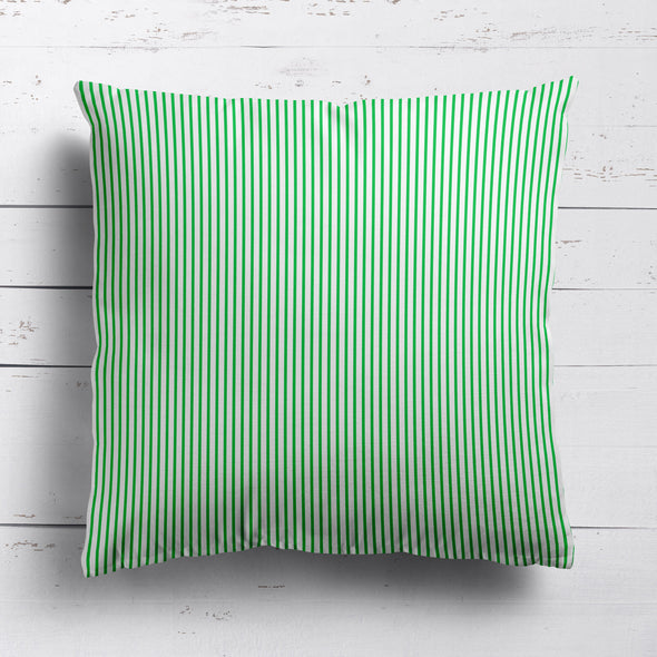 Petite Stripe cotton linen cushion in Emerald green