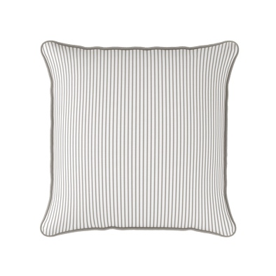 beige white stripe piped cushion
