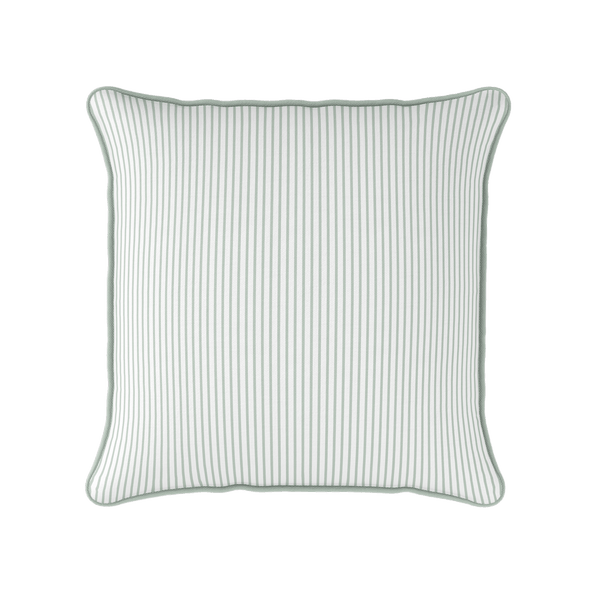green white stripe piped cushion