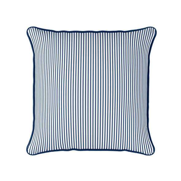 navy white striped piped cushion