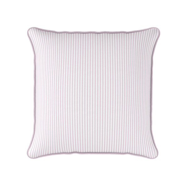 Petite Stripe cotton linen cushion in Peony pink