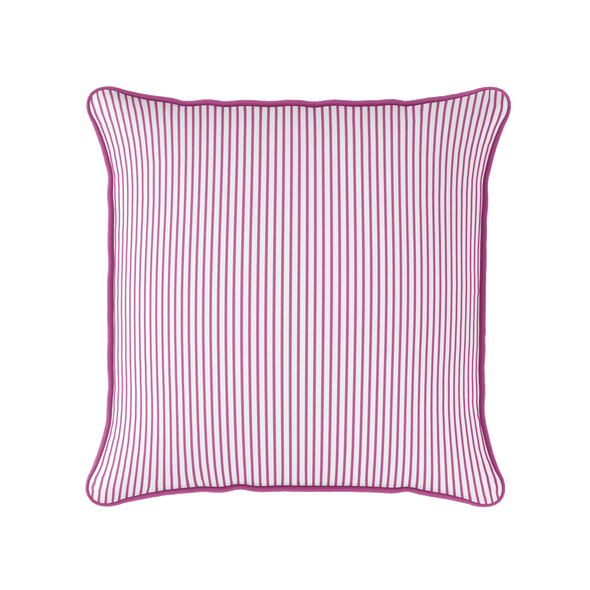 Petite Stripe cotton linen cushion in raspberry pink