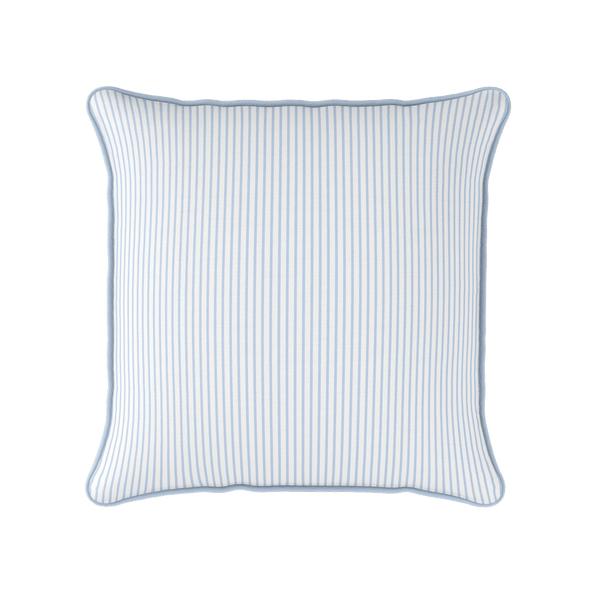 pale blue white striped cushion