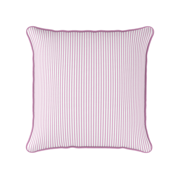 Petite Stripe cotton linen cushion in pink