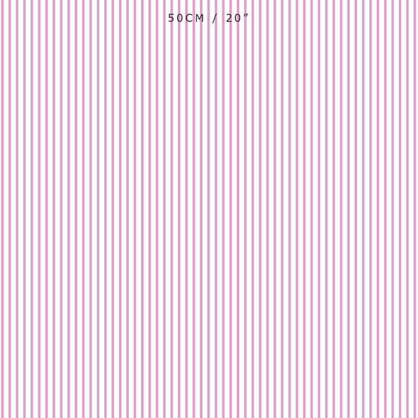 Petite Stripe cotton linen fabric in Tickled pink