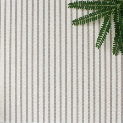 Petite Stripe cotton linen fabric in Chateaux beige