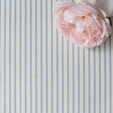 Petite Stripe cotton linen fabric in Cornflower blue