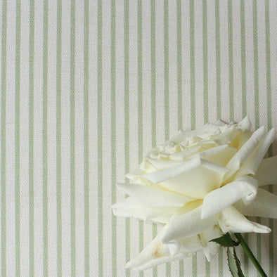 Petite stripe cotton linen fabric elderflower green