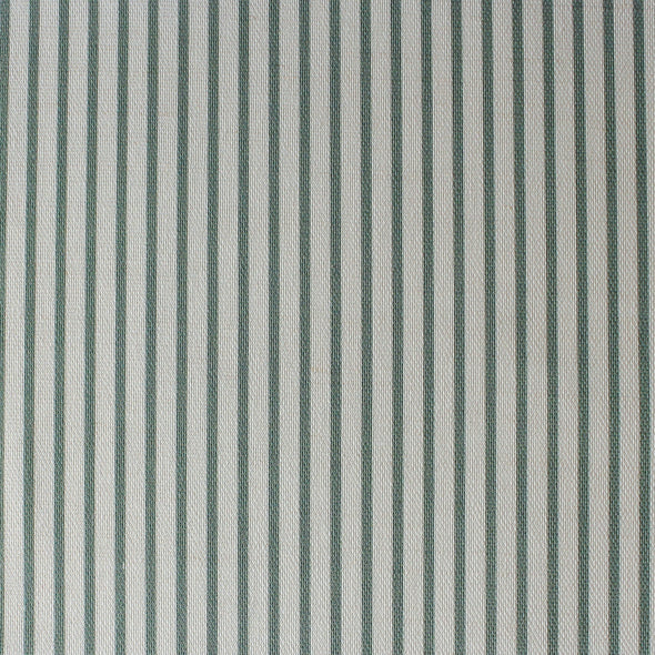 Petite Stripe cotton linen fabric in Eucalyptus green