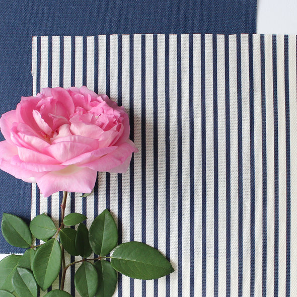 Petite Stripe cotton linen fabric in Navy blue