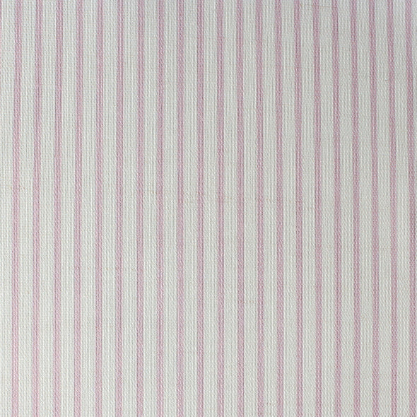 Petite Stripe cotton linen fabric in Peony pink