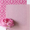 Petite Stripe cotton linen fabric in Raspberry pink