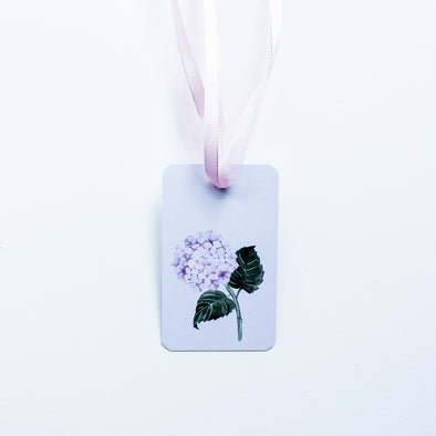 Pink hydrangea gift tag