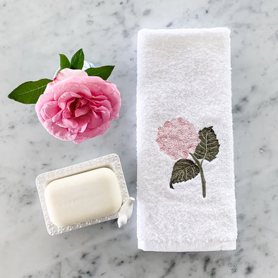 Pink hydrangea embroidered hand towel