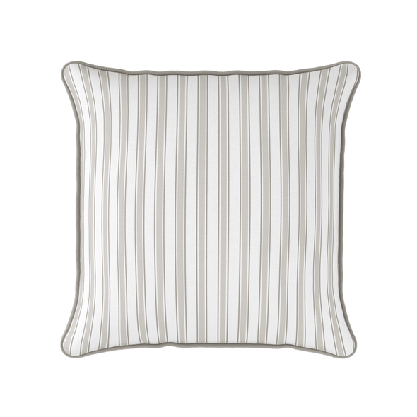 neutral coastal multi stripe piped cushion