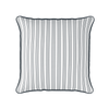 multi stripe grey piped cushion