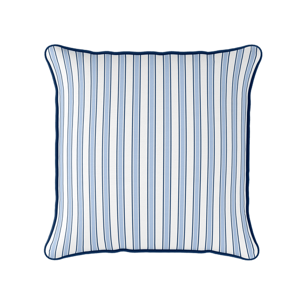 coastal multi stripe blue piped cushion