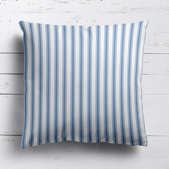 Regatta Stripe cotton linen cushion Breeze blue