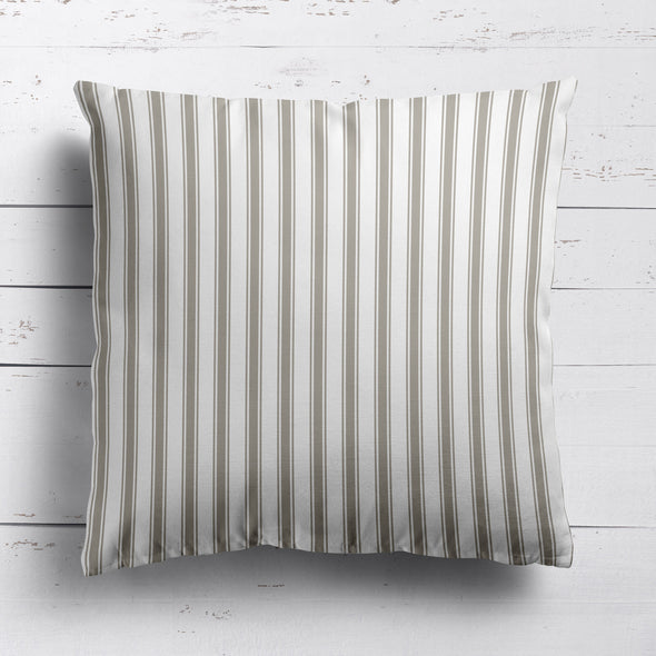 Regatta Stripe cotton linen cushion Chateaux beige