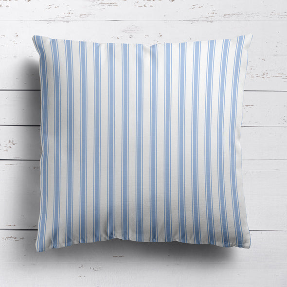 Regatta Stripe cotton linen cushion Cornflower blue