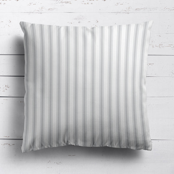 Regatta Stripe cotton linen cushion dove grey