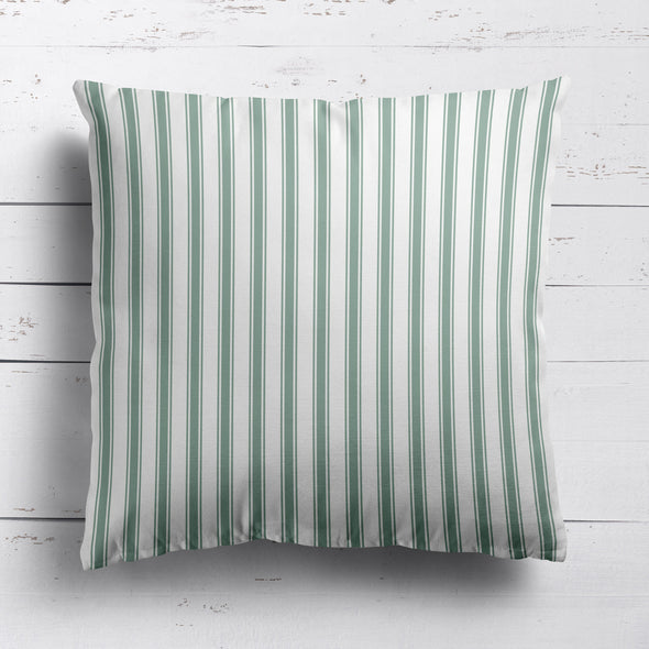 Regatta Stripe cotton linen cushion Eucalyptus green