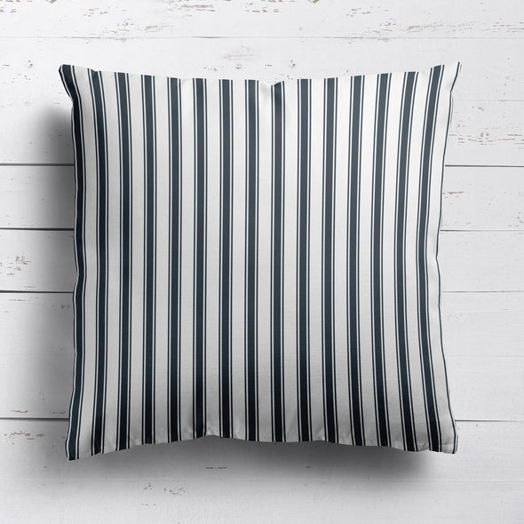 Regatta Stripe cotton linen cushion graphite grey