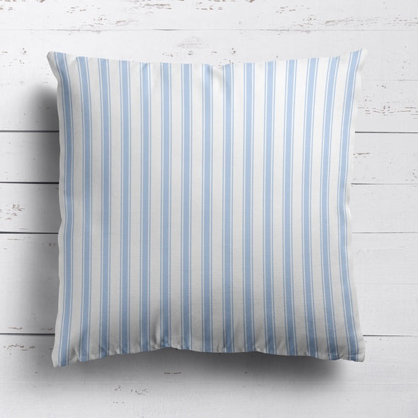 Regatta Stripe cotton linen cushion Serenity blue