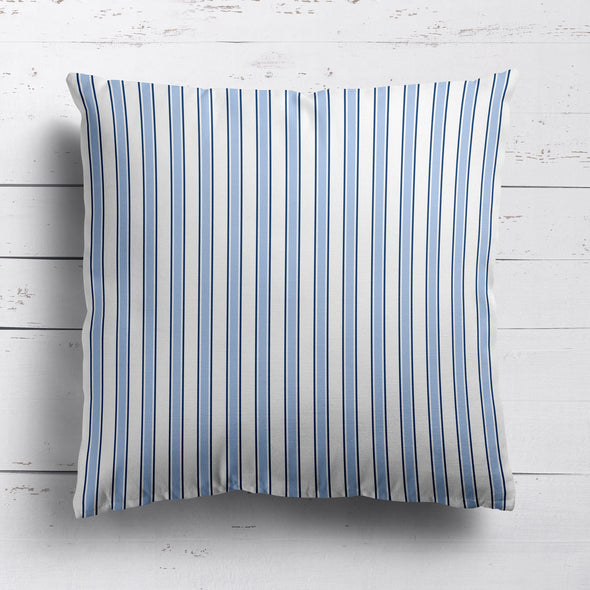 Regatta Stripe cotton linen cushion mid blues