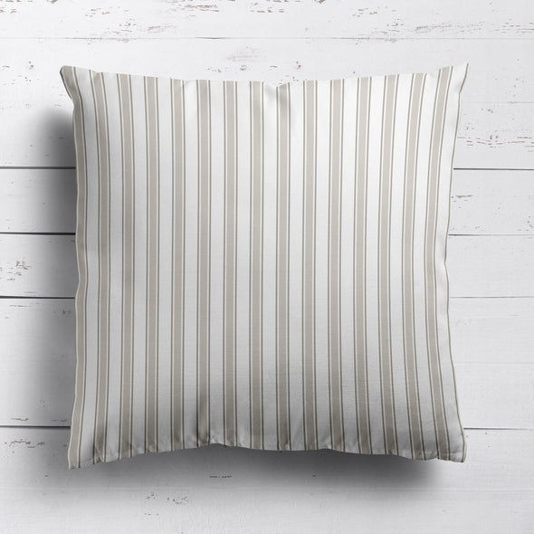 Regatta Stripe cotton linen cushion neutral beige