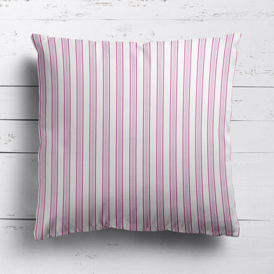 Regatta Stripe cotton linen cushion Peony pink