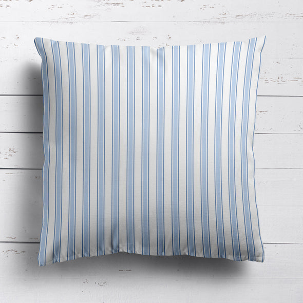 Regatta Stripe cotton linen cushion light blues