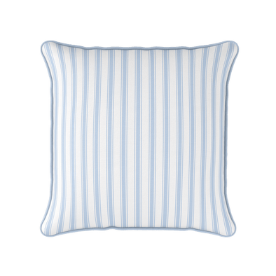 Blue coastal stripe piped cushion