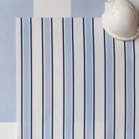 Regatta Stripe cotton linen fabric blue