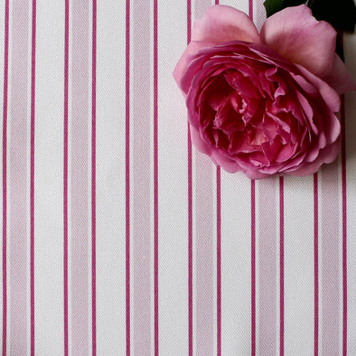 Regatta Stripe cotton linen fabric pink